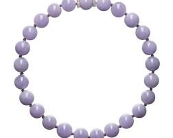 1628. 天然紫色翡翠珠配鑽石項鏈