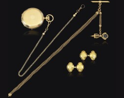 31. gold pocket watch, patek philippe & cie, pair of gold cufflink and gold chain