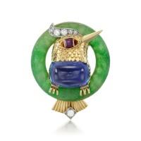 2. gem set, jadeite and diamond brooch, cartier, 1951