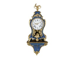 43. a small and attractive french louis xv gilt bronze mounted 'corne bleu' bracket clock, chemitte a fontenay, circa 1740