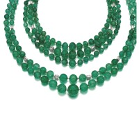 352. two emerald and diamond necklaces