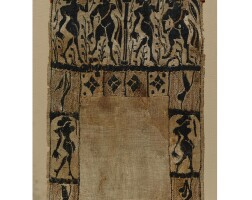 100. three coptic linen and wool tunic fragments , circa 5th century a.d.