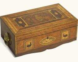 26. a scottish george ivmarquetry andinlaid specimen hardwoodworkbox by jeremiah mackneil, circa 1820