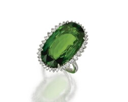 107. platinum, peridot and diamond ring