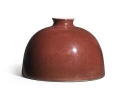 105. a superb peachbloom-glazed 'beehive' waterpot kangxi mark and period |