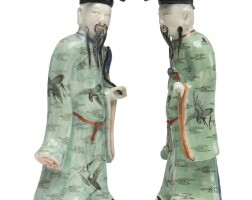 1108. two chinese famille rose figures of lu dongbin late 18th / early 19th century