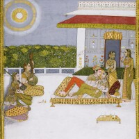 207. a prince and princess on a terrace with musicians and attendants, probably malkos raga, mughal or possibly mughal style at jaipur, 1740-60, with calligraphy signed by mir sheikh al-purani, dated 936 ah/1539-40 ad