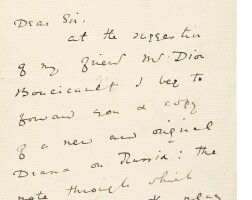 308. wilde, oscar. autograph letter signed. c. 1880, offering his first play to a french director
