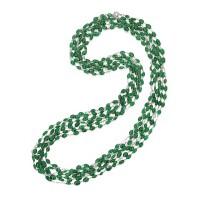 63. 18 karat white gold, emerald and diamond longchain
