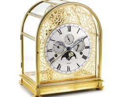 2008. kieninger | gold-plated brass quarter striking triple calendar desk clock with moon phasescirca 2001