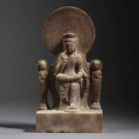6. a white marble inscribed triad group northern qi dynasty, dated tianbao tenth year, corresponding to 559 |