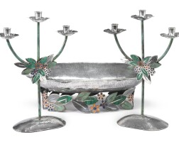 1. a mexican silver, copper and hardstone centerpiece and matching pair of three-light candelabra, emilia castillo, taxco, circa 1995