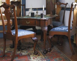 42. fine set of four chippendale carved and figured walnut side chairs, philadelphia, circa 1770
