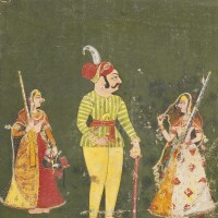 824. two paintings from thikanas of bundi: a nobleman with two maidens holding matchlocks, an illustration to nayika/ nayaka series