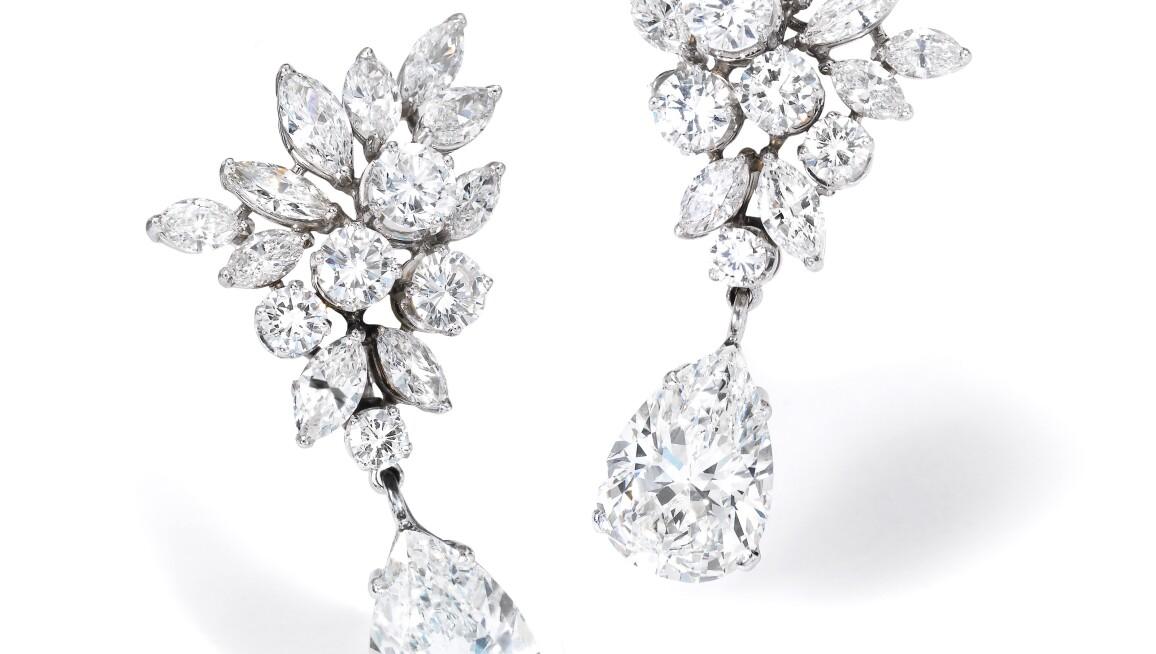 Pair of diamond earrings. Estimate 125,000 — 175,000 CHF.