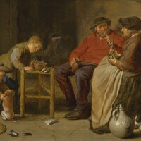 105. cornelis saftleven   a peasant couple smoking and eating, their children with a bowl of coals and playing with a dog