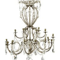 48. an italian cut crystal, bronze and metal chandelier, first half 19th century  