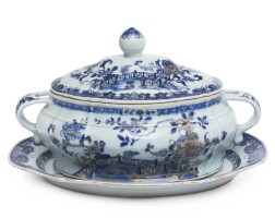 1112. chinese export soup tureen, cover and stand circa 1765