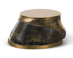 31. a victorian brass mounted horsehoofinkwell, dated 1870 |