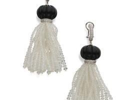 22. pair of onyx, quartz and diamond 'beyond'earrings, goshwara