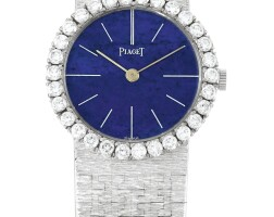 34. piaget   reference 9190 a6 a white gold and diamond-set bracelet watch with lapis lazuli dial, made in 1970