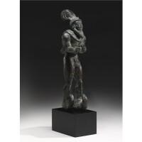 80. an elamite copper figure of a horned hero , proto-literate period, circa 3000-2800 b.c.