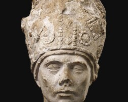 3003. a limestone head of a bishop with an ornate mitre burgundy, france, late 15th century |