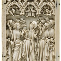 6. french, paris, circa 1360-1380, | central leaf of a triptych with the ascension