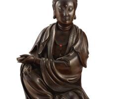 3632. 十七世紀 銅嵌銀絲觀音菩薩坐像 《石叟》款 |