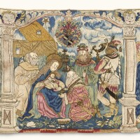 36. a southern german or swiss wool and metal-thread embroidered armorialnew testament biblical antependium (or wall hanging) dated 1592