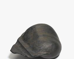 37. gordon baldwin | black horizontal vessel with flange and shadow lines