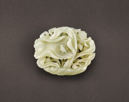 76. a pale celadon jade reticulated 'lotus' plaque song –yuan dynasty