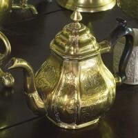 465. dutch engraved brass teapot, circa 1720