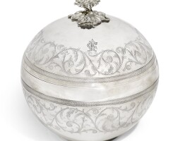 303. an ottoman silver bonbonnière, stamped with tughra of abdülhamid ii (r.1876-1909), turkey, late 19th century