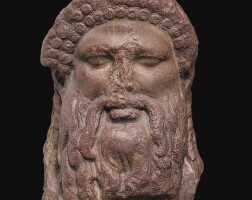 29. a roman rosso antico marble herm head of hermes, 1st/2nd century a.d.   a roman rosso antico marble herm head of hermes