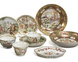 1047. a group of chinese export famille-rose and gilt'figural' dishes and cups qing dynasty, 18th century |