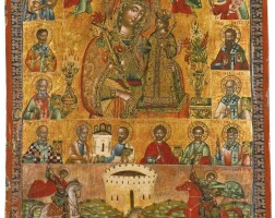 665. mother of god of the unfading rose with saints, greece, 18th century