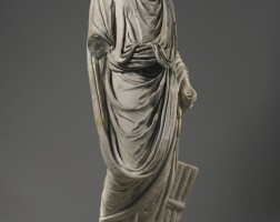 24. a marble figure of a togatus, roman imperial, circa2nd century a.d.