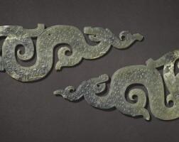 311. two celadon jade dragon-shaped pendants warring states period