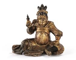 25. statuettede gardien en bois laqué or dynastie qing, xviiie siècle  