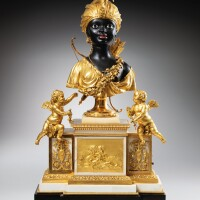 10. anormolu and patinated-bronze mounted, white and black marble musical and automaton mantel clock, louis xvi, paris, circa 1784, the mechanism by jean-baptiste-andré furet and françois-louis godon, the gilt-bronzebase attributed to etienne martincourt |