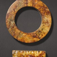 312. a small russet jade cong and a russet jade ring probably neolithic period, liangzhu culture
