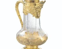 19. grande aiguièreen cristal taillé montée en vermeil par boin taburet, paris, vers 1900