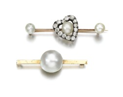 42. natural pearl and diamond brooch and a mabé pearl brooch