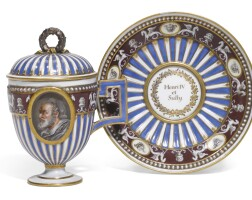 27. a meissen (marcolini) porcelain double-portrait cup, cover and stand  
