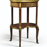 148. table de salon en acajou et bronze doré de style louis xvi dans le goût de charles topino, vers 1900