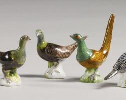33. four meissen miniature figures of pheasants circa 1750