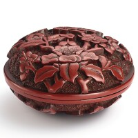 3511. a cinnabar lacquer ink paste box and cover ming dynasty, 16th century  