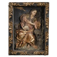 288. a spanish gilt and painted wood relief of mary magdalene, 17th century