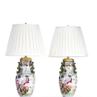 10. a pair of english porcelain vases, mounted as lamps second half 19th century